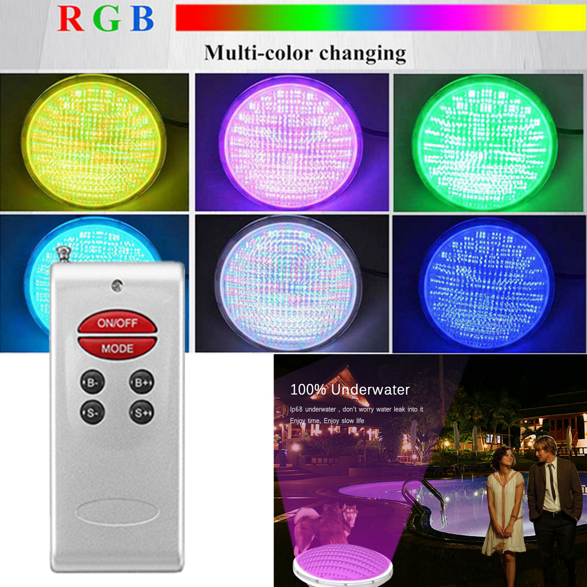 16 Color 12-24V 18W IP68 LED RGB 90Pcs SMD 2835 Lamp Beads LEDS Underwater Swimming Pool Bright Light + Remote Control White ABS