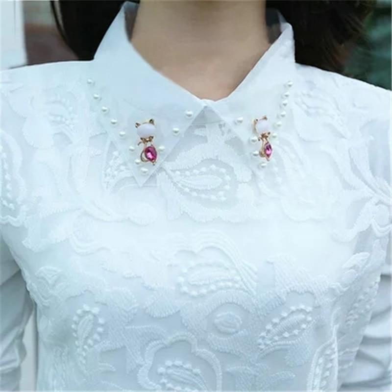 2019 New Turn Down Collar Long Sleeve Blouses Shirts Plus Size Lace Women Blouse Women Clothing Blusas Femininas XY253