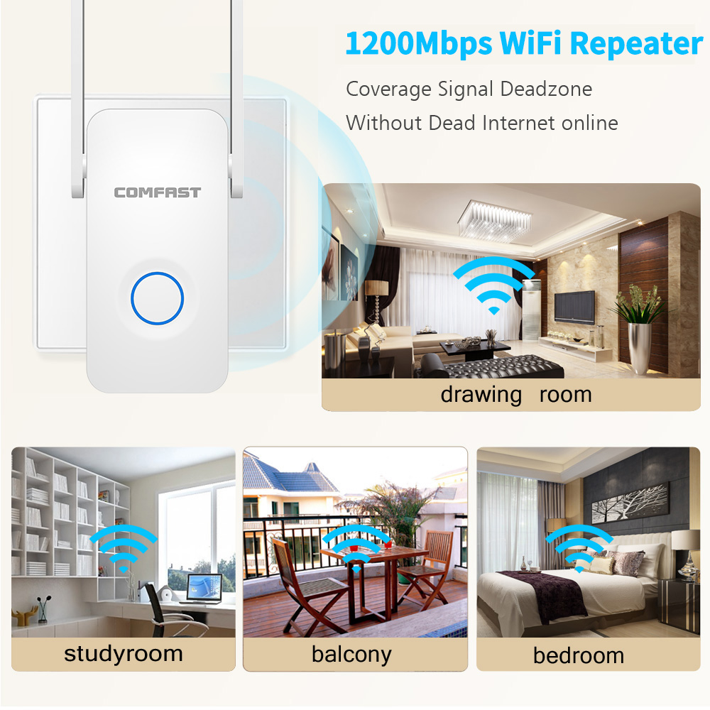 Image 5 - Powerful Dual Band 1200Mbps WiFi Extender Internet Signal Booster Wireless Repeater 2.4GHz 5GHz Wi Fi Range Extender Antenna
