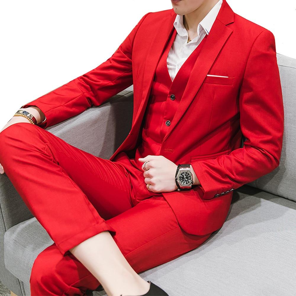 Nouveau hommes décontracté Slim couleur unie costumes trois pièces grande taille M 6XL (veste + pantalon + gilet) marié robe de mariée-in Costumes from Vêtements homme    1