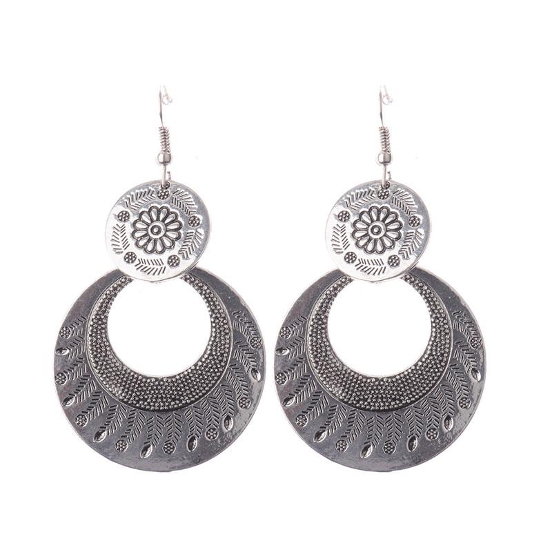 Tribal Antique Silver Double Round Pendant Dangle Earrings Women Vintage Earrings Boho Bohemia Style Big Earrings HQE370
