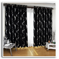 New arrival beautiful full shade blakcout curtains black and silver curtains for living room
