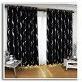 Nueva llegada hermosa blakcout lleno de sombra cortinas cortinas para la sala de negro y plata