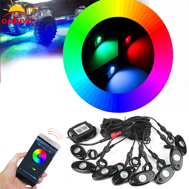oobst 2017 New arrival under car light 8pods 9w RGB led rock light with Bluetooth Control for 4x4 Off road ATV high quality brand new universal 40 w 6 inch 12 v led car work light daytime running lights combo light off road 4 x 4 truck light