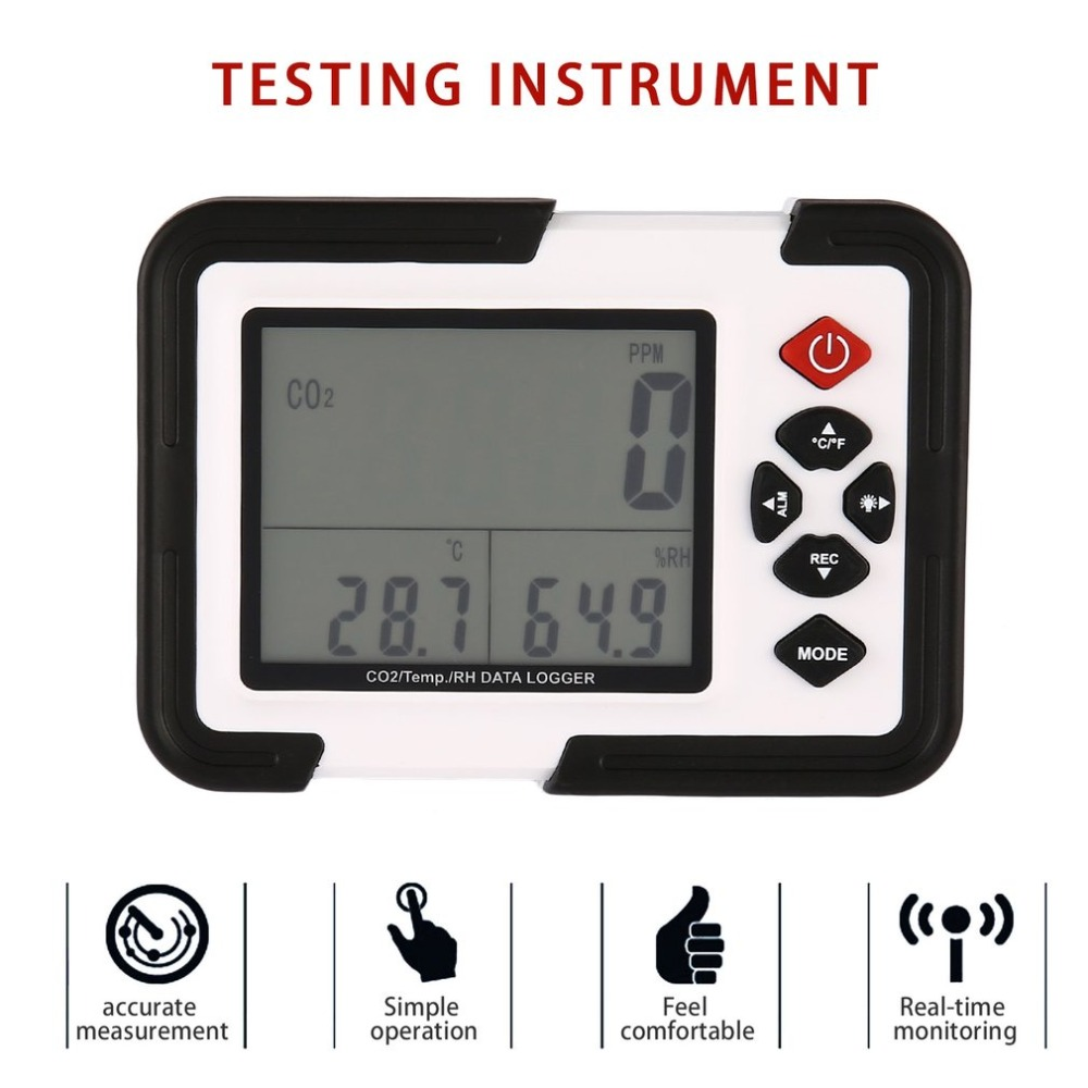 1Set USB Carbon Dioxide CO2 Data Meter Air Temperature LCD Logger Humidity Tester with Box new usb temp temperature humidity datalogger data logger record meter 40 70c