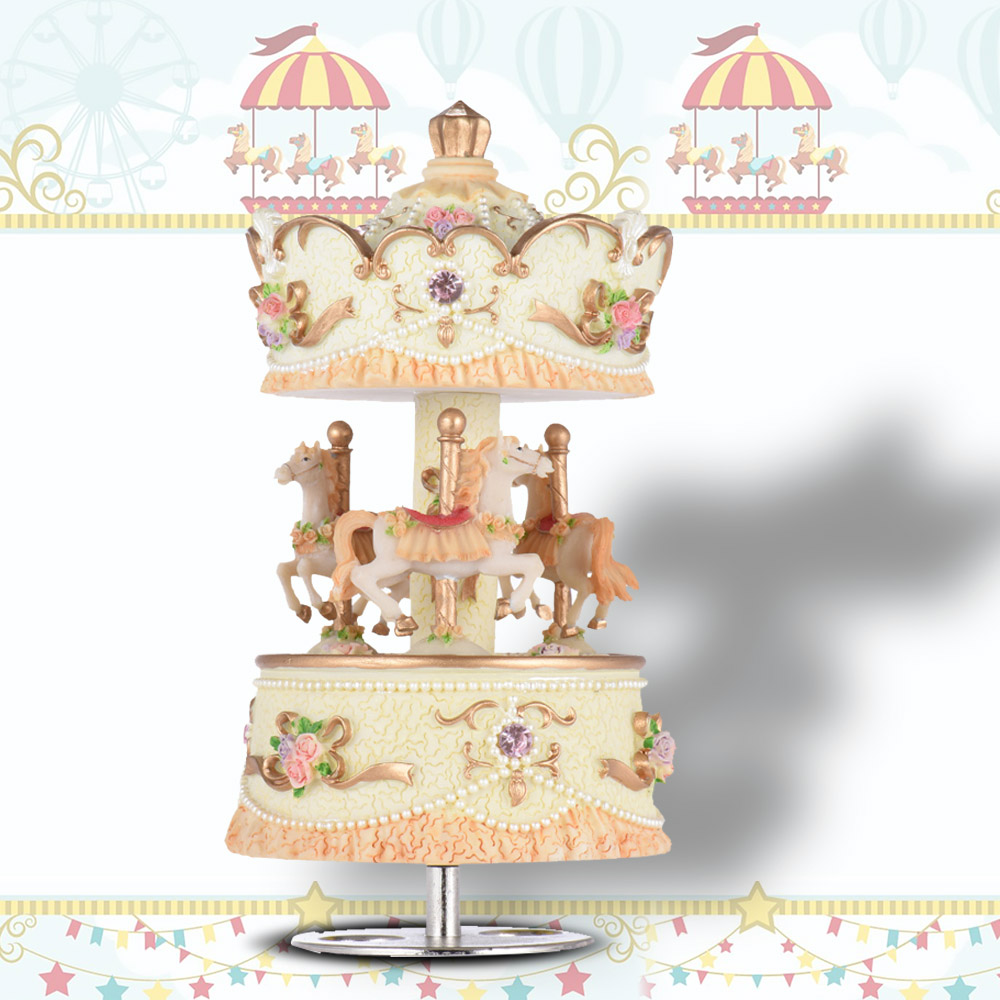 Laxury Windup 3-horse Carousel Music Box Artware/Gift Melody Castle in the Sky Pink/Purple/Blue/Gold Shade for Option