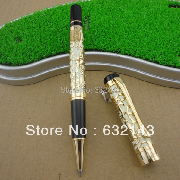 JINHAO roller ball Century pioneer white engraving luxury dragon pen high quality best writing Roller Ball Pen office supplies wholesale sales promotion ballpoint pen jinhao 1683 gold roller ball pen steel metal dragon gift silver send a refill yy12