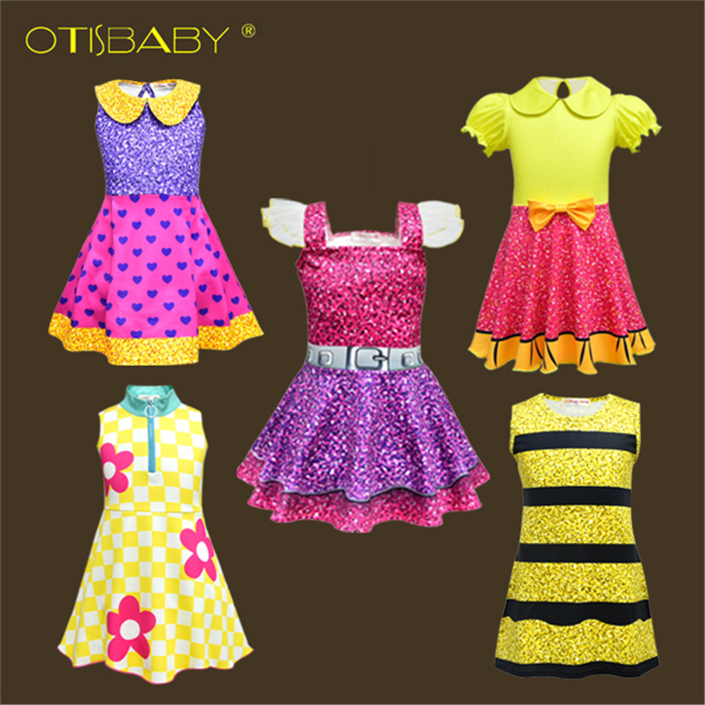 Summer Colorful Girls Lol Dress Dolls Girl Birthday Party Dress Halloween Christmas Child Girl Cosplay Costume Kids Lol Clothes girls dresses trolls poppy cosplay costume dress for girl poppy dress streetwear halloween clothes kids fancy dresses trolls wig