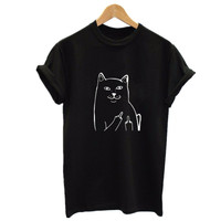 Harajuku Style Middle Finger Pocket Cat T Shirt Funny Graphic Print Tee Shirts Go Away Short