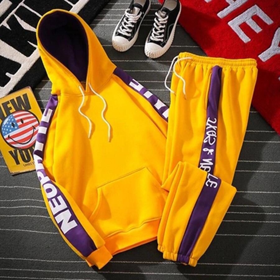 Vert Hip Hop survêtement à capuche costume Streetwear survêtement 2 pièces survêtement pour hommes Jogging Homme à capuche décontracté hommes tenues M5S9