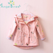 ФОТО  angeltree girl jackets coats children's clothing embroidered flowers hooded windbreaker for girls clothes kids outerwear 1-8yea