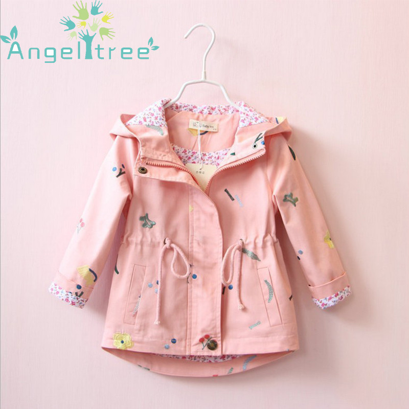 Angeltree Girl Jackets Coats Children's clothing embroidered flowers Hooded Windbreaker For Girls Clothes Kids Outerwear 1-8Year angeltree girl jackets coats children s clothing embroidered flowers hooded windbreaker for girls clothes kids outerwear 1 8year