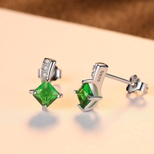 Green Square Cubic Zirconia Crystal Silver Stud Earrings