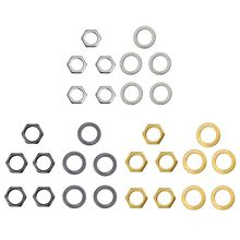 OOTDTY  Guitar Metal 5 Washers and Nuts Set for Jack Socket D9.36mm UK3/8inch
