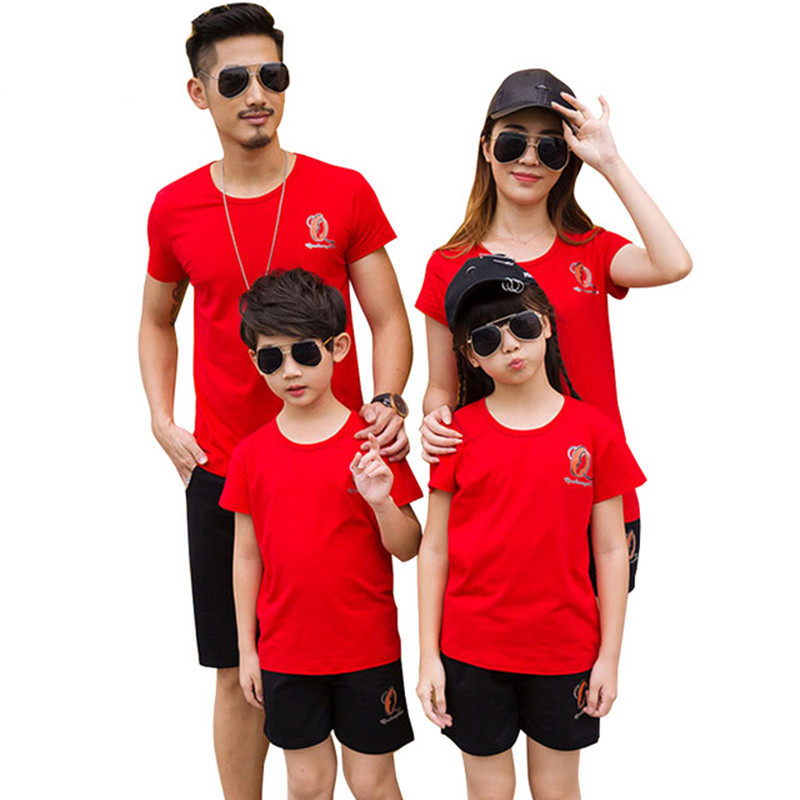 Household Matching Outfits 2018 New Summer time Plus Measurement Father Boy Mom Daughter Cotton Shirts Shorts Pants set Household Clothes Matching Household Outfits, Low cost Matching Household Outfits, Household...