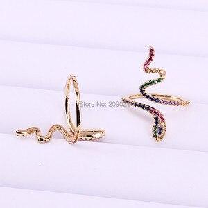Image 2 - 6 sztuk wysokiej jakości rainbow wąż pierścień cz dla kobiet prezenty dla pań złota kolor kolorowe Cubic cyrkon trendy palec pierścień