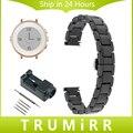 14mm Completa de Cerâmica Faixa de Relógio + Removedor de Ligação para Pebble tempo rodada 14mm butterfly buckle strap pulseira de pulso das mulheres preto branco