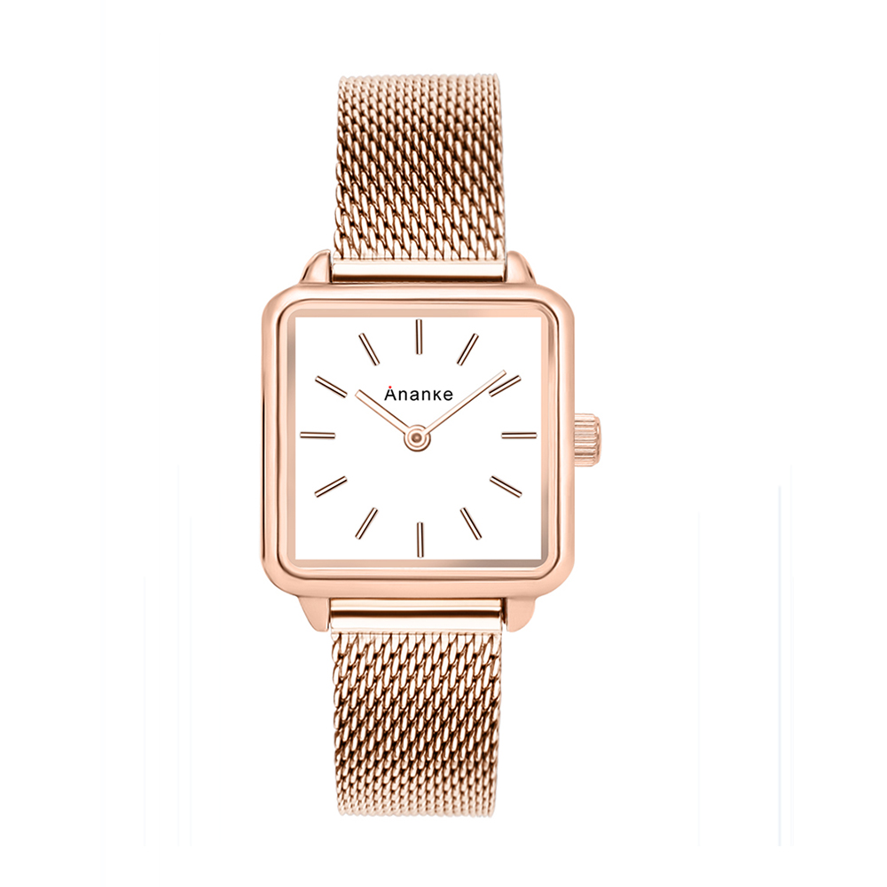 Ananke Women's Rose Gold Square Stainless Steel Mesh Watch Lady Girls Waterproof Fashion Simple Leather Watch Japanese Movement
