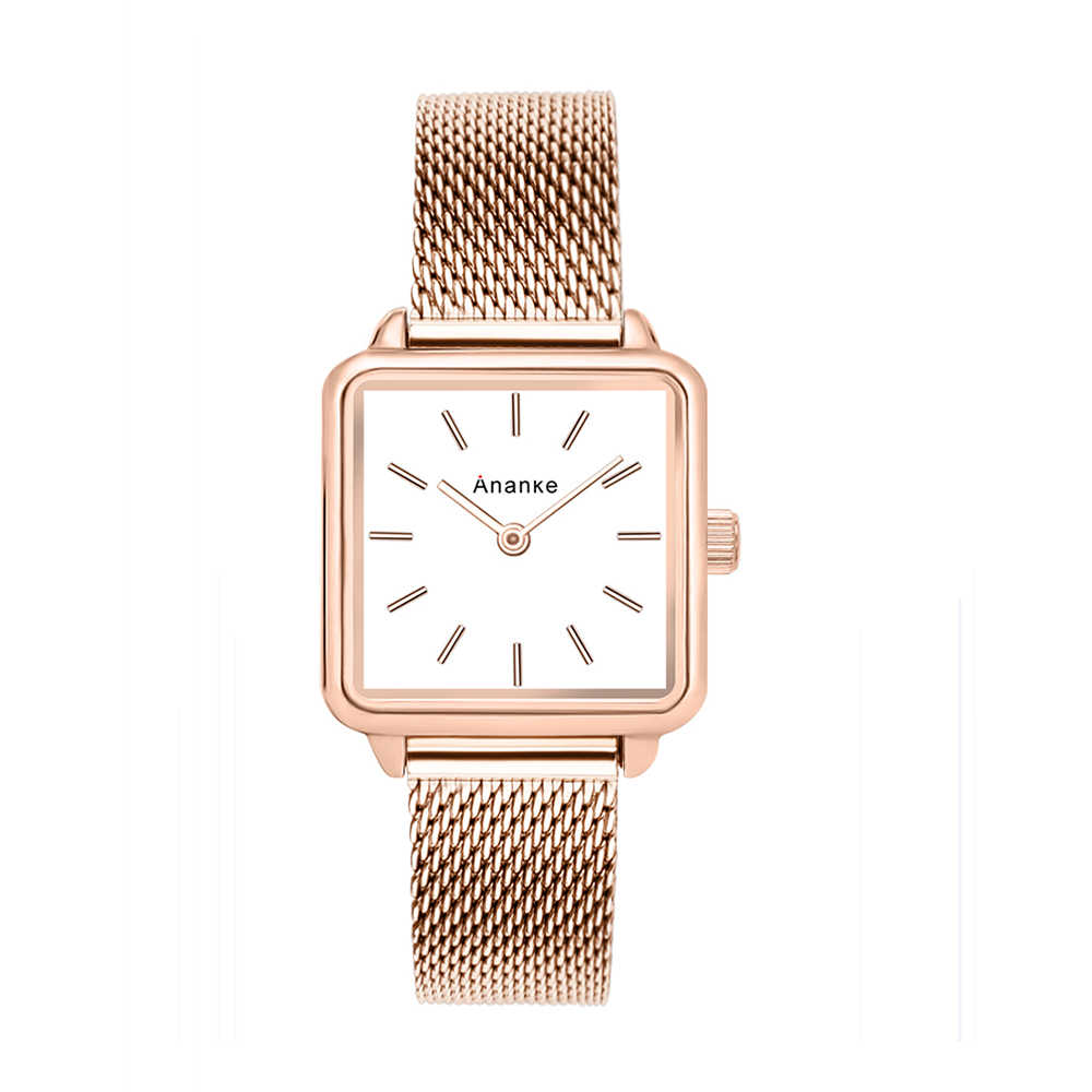 cfcfc1bfbd56 Ananke Women s Rose Gold Square Stainless Steel Mesh Watch Lady Girls  Waterproof Fashion Simple Leather Watch