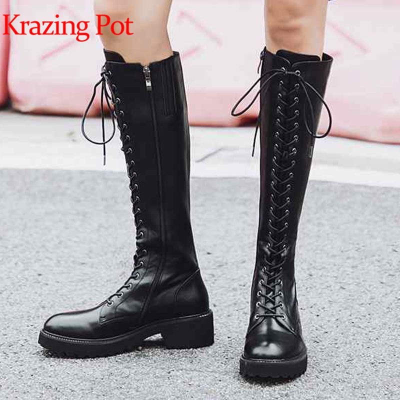 купить Krazing pot cow leather riding equesboots boots style runway fashion punk rock lace up large size gorgeous thigh high boots L11 недорого