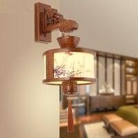 Китайский твердой древесины искусства настенные светильники коридор Ретро чайхана коридор исследование лампы Теплый прикроватная тумбоч