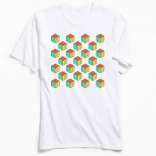 Men Tops Tees Geometric T-shirt Company Rubiks Cube Pattern TShirt Design T Shirts Crewneck 100% Cotton Clothes Father Day Gift