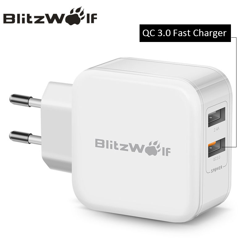 BlitzWolf QC3.0 USB Charger Adapter Travel Wall Charger Mobile Phone Fast Charger For iPhone X 8 6s Plus For Samsung Smartphone