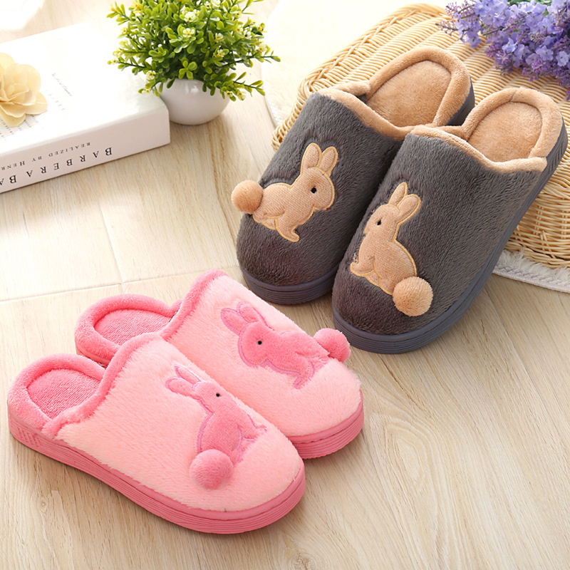 Women Winter Warm House Slippers Couple Plush Home Slippers Cartoon Rabbit Ladies Indoor Bedroom Shoes Women Zapatillas Mujer bow slippers women winter warm slippers ladies flats shoes women indoor home slippers home shoes for women zapatillas mujer 2018