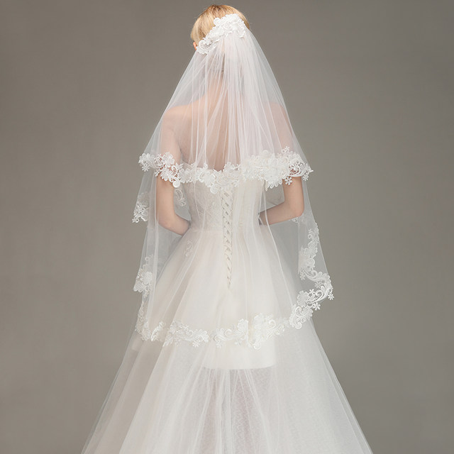 Voile-Mariage-Cheap-Lace-Edge-Short-Ivory-Wedding-Veil-with-Comb-Two-Layers-Tulle-Bridal-Veil (1)