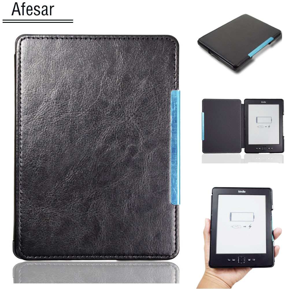 New style pu leather Magnet <font><b>Cover</b></font> Case for Amazon <font><b>Kindle</b></font> 4 <font><b>Kindle</b></font> 5 ebook eReader pouch <font><b>D01100</b></font> 4th 5th flip case protective film image