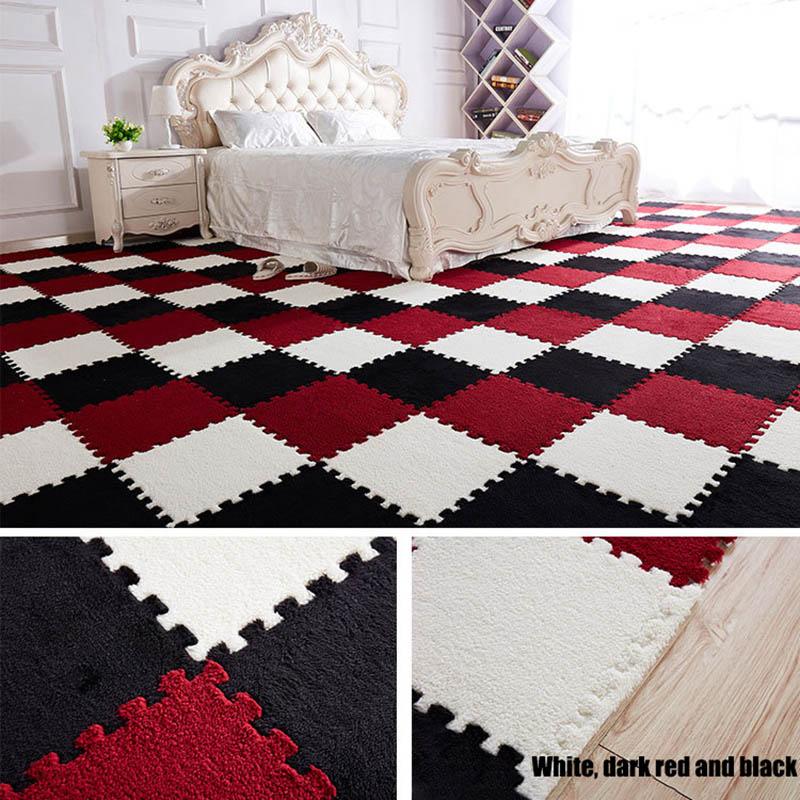 HTB15VDRB4uTBuNkHFNRq6A9qpXaG 10Pcs/1Set 30*30*1cm EVA Plush Puzzle play mats Foam Shaggy Velvet Carpet Decorative Kids Room for Crawling Play Toys 9-Colors