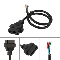 Free Shipping 5pcs/lot OBD2 16pin Female Connector to Open OBD Cable OBDII OBD-ii ODB2 16 pin OBD 2 Adaptor 30cm Length Hot sale