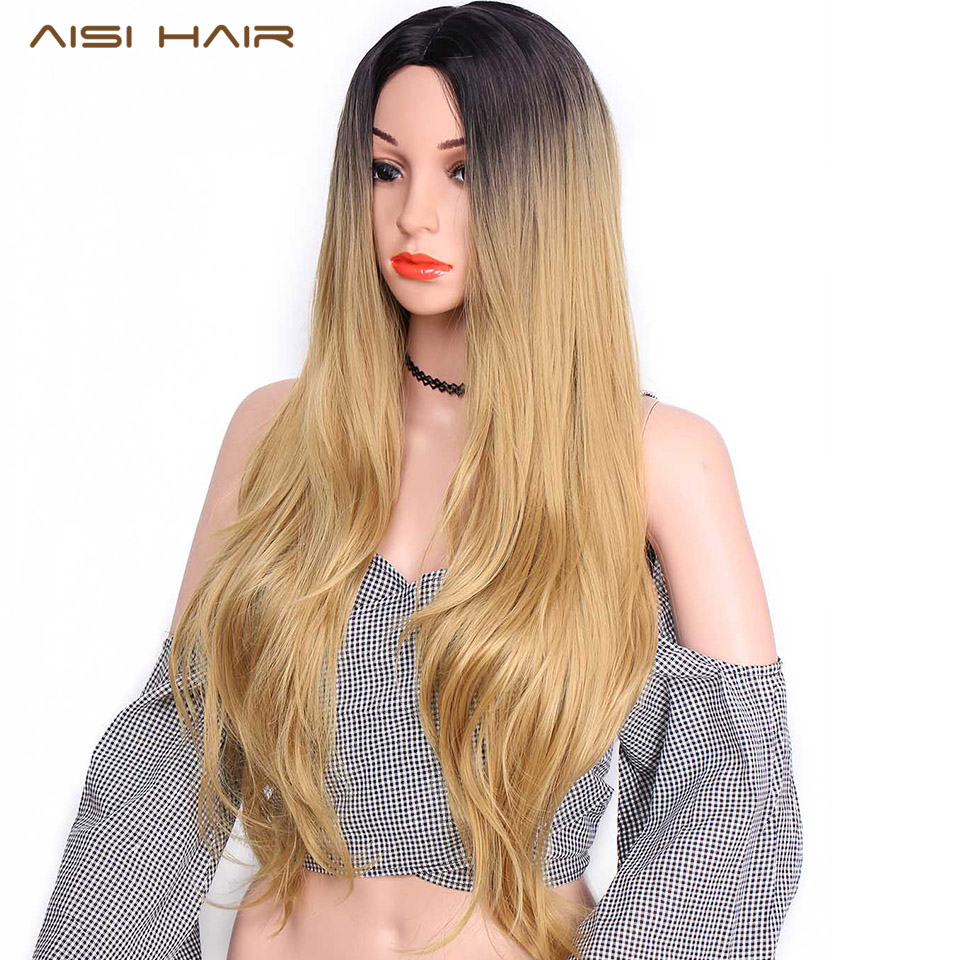 AISI HAIR Synthetic Blonde Ombre Wig for Women Black Long Wavy Ombre Blonde Hair