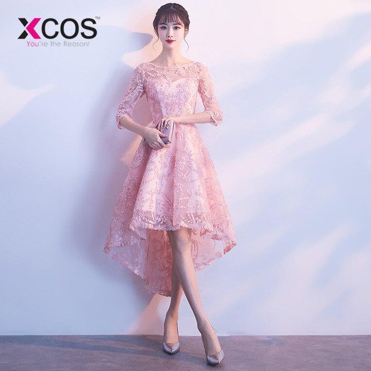 d98110ed8cf2d90 XCOS 2018 розовое платье для выпускного вечера Кружева Половина рукава  высокая низкая выпускное платье es vestido