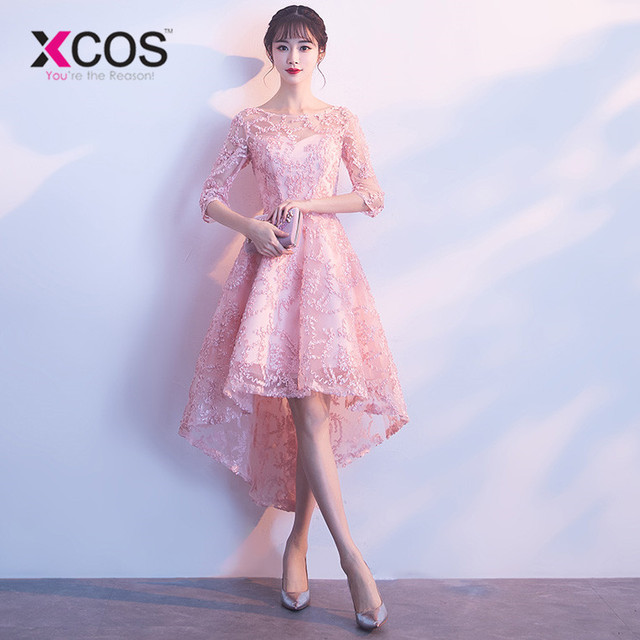 Xcos 2018 Pink Prom Dress Lace Half Sleeves High Low Prom Dresses