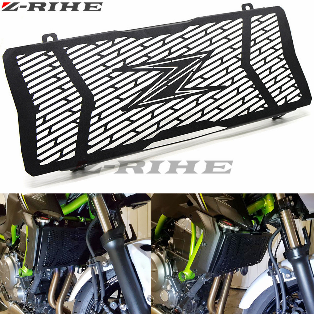 For KAWASAKI Z650 Free Shipping Stainless Steel Motorcycle Radiator Guard Radiator Grille Cover Fits For KAWASAKI Z650 2017 for kawasaki z900 2017 motorcycle radiator guard gloss stainless steel grille bezel radiator net protective cover