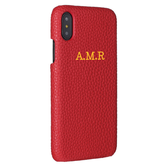 080b26644c03d Personalisation Custom Pebble Grain Leather Luxury Gold Silver Initial Name  For iPhone X XR XS Max 6S 7 7Plus 8 8Plus Phone Case-in Fitted Cases from  ...