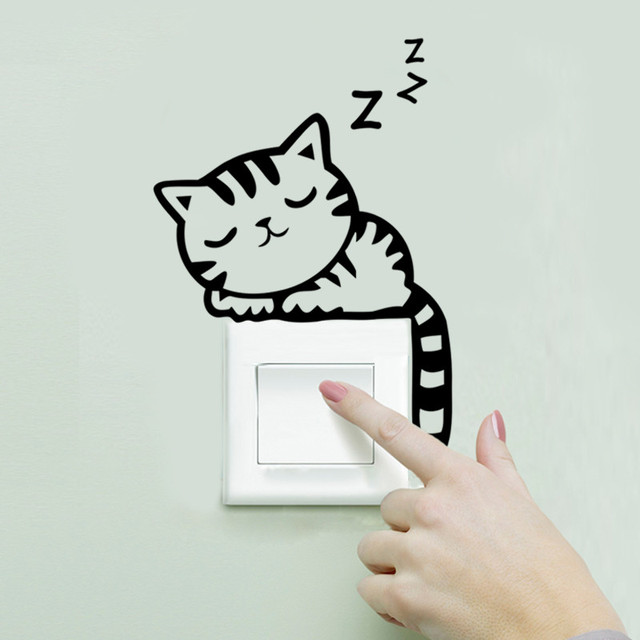 High Quality Sweet Sleeping Cat Wall Stickers Switch Sticker Living Room Bedroom Wall  Decals Home Decoration Poster