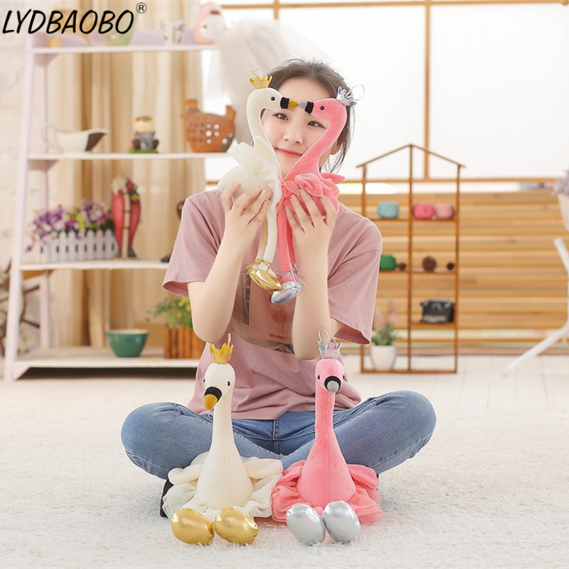 1pc 35cm swan plush toys cute flamingo doll stuffed soft animal doll ballet swan with crown baby kids appease toy gift for girl plush ocean creatures plush penguin doll cute stuffed sea simulative toys for soft baby kids birthdays gifts 32cm