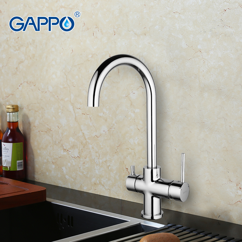 GAPPO 1set Deck Mounted Kitchen sink Faucet Double Handle Water Purification Function 360 Rotation restroom mixer