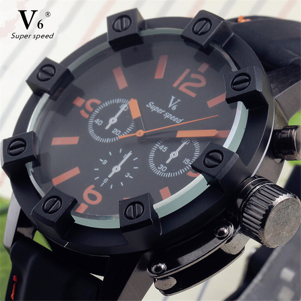 2016 Marca V6 Luxury New Silicone Sport Watches Men Casual Military Watch Fashion Quartz Watch Hour Gift Clock relogio masculino мужской ремень cinto couro marca