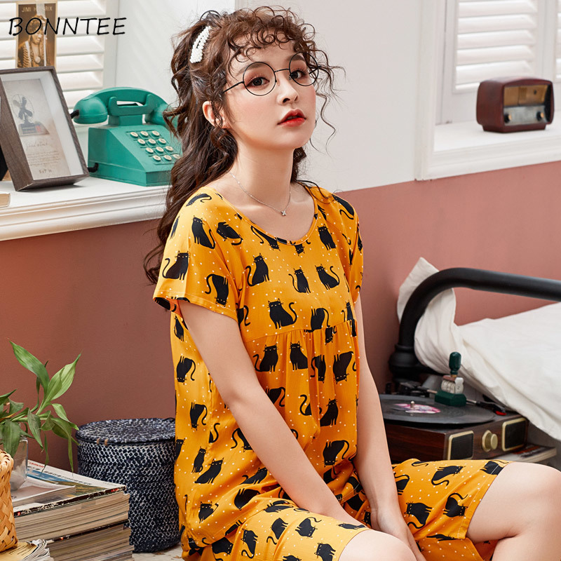 Pajama Sets Women Korean Style Sweet Lovely Home All-match Printed Womens Clothing Daily Short Sleeve Student Trendy Soft Summer