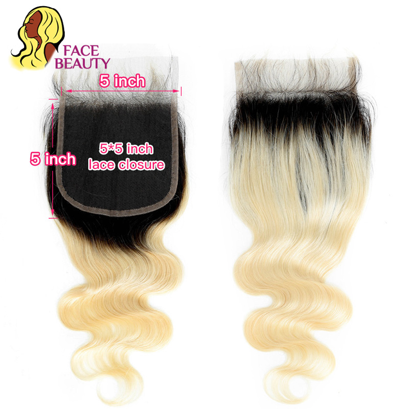 Facebeauty 5x5 1B 613 Blonde Brazilian Body Wave Remy Human Hair Lace Closure 2 Tone Dark