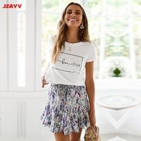 JZAYV Summer 2019 Letters Printed White T shirt Vintage Style T shirt Women Short Sleeve Ulzzang Harajuku Shirt