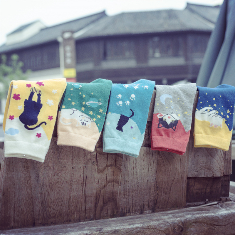 New Cotton Ankle Caton Socks Women Colorful Harajuku Woman Funny Cat Sock Winter Cheap Wine Sock Amozae Happy Girl Sock Harajuku