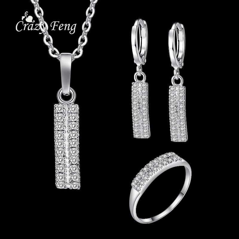 ᗖsimple Design Bar Jewelry Sets Silver Color Austrian Crystal