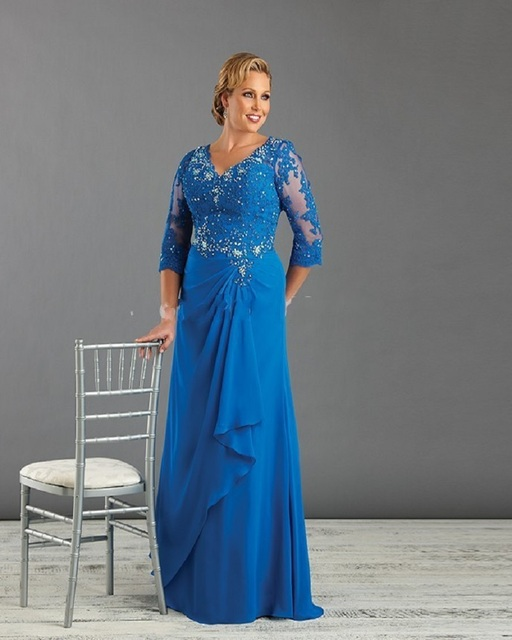 5e5032a9f44 Blue Plus Size Mother Of The Bride Groom Dresses with Sleeve Appliques  Beading Chiffon Ladies Evening Dress Mom Gown