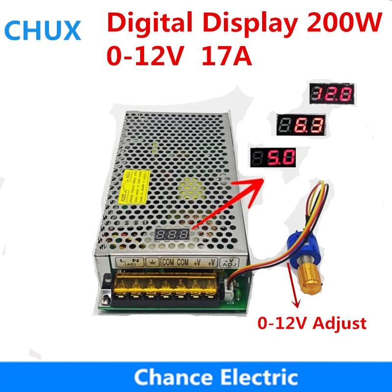 купить Digital Display Adjustable Switching Power Supply 12V 17A 200W DC voltage 0-12V Adjustable по цене 1238.53 рублей