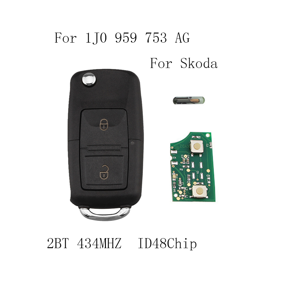 2Buttons 434MHZ Remote Key for SKODA Fabia Superb Octavia I 2002-2007 Car Key 1J0959753AG 1J0 1JO 959 753 AG with ID48 Chip