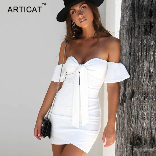 Articat Off Shoulder Strapless Sexy Ruched Summer Dress Women Bow Knot Backless Mini Dress Short Sleeve Bodycon Bandage Dresses